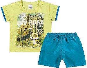 Conjunto Camiseta em Meia Malha Penteada e Bermuda em Tactel Menino Verde/Azul - Elian