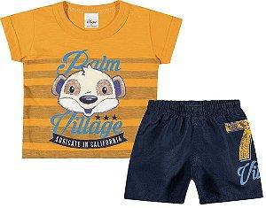 Conjunto Camiseta em Meia Malha Flamê e Bermuda em Tactel Menino Amarelo/Azul Marinho - Elian