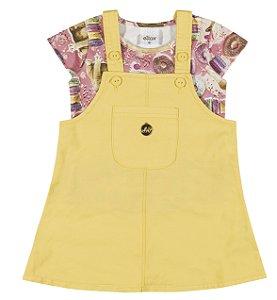 Conjunto Blusa em Cotton Confort e Salopete em Tricoline com Elastano Menina Rosa/Amarelo - Elian