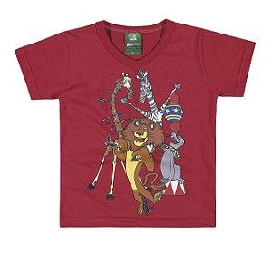 Camiseta Madagascar em Meia Malha Penteada Menino Vermelha  - Elian
