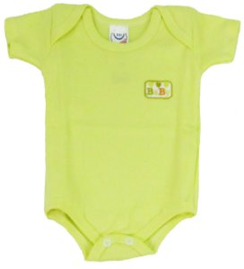 Body Manga Curta Baby Unissex Amarelo - Babynha