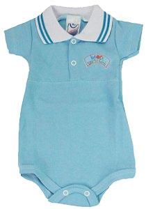 Body Manga Curta com gola Polo Menino Azul - Babynha