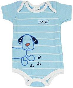 Body Manga Curta Baby Dog Menino Azul - Babynha