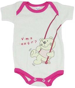 Body Manga Curta Ursinha Menina Branco/Rosa - Babynha