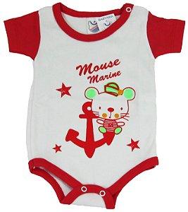 Body Manga Curta Unissex Branco/Vermelho - Babynha