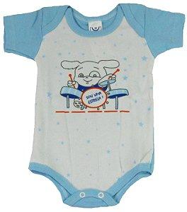 Body Manga Curta Menino Azul - Babynha