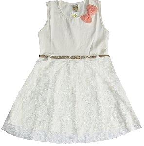 Vestido em Cotton Menina Off White - Jeito Doce