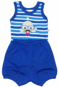 Conjunto Body Regata Baleiazinha Suedine Plus e Short Menino Azul Royal - Best Club