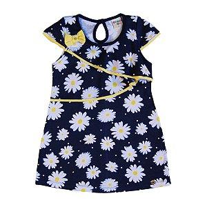 Vestido Meia Malha Menina Azul Marinho - Have Fun