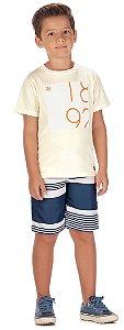 Camiseta Manga Curta em Malha Atlanta Estampada Menino Creme - Colorittá