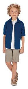 Camisa Manga Longa em Tricoline Menino Marinho - Colorittá