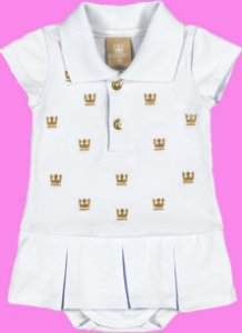 Body Polo Bordado com Sainha em Cotton Confort Menina Branco - Colorittá