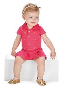Body Polo Bordado com Sainha em Cotton Confort Menina Pink - Colorittá