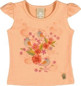 Camiseta em Cotton Confort Menina Laranja - Colorittá