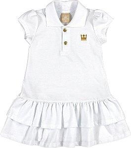 Vestido Polo em Pique Menina Branco - Colorittá