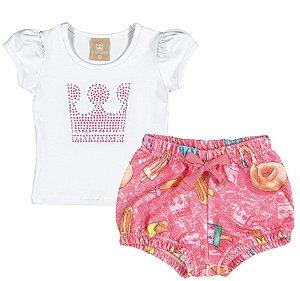Conjunto com Blusa em Cotton Confort e Short em Madri Menina Banco e Rosa - Colorittá