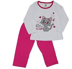 Pijama Meia Malha Menina Branco e Pink - Gueda