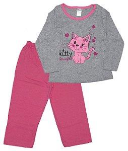 Pijama Meia Malha Menina Mescla e Rosa - Gueda