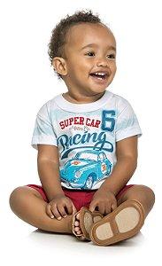 Conjunto Camiseta em meia Malha Penteada e Bermuda em Tactel Menino Branco - Elian
