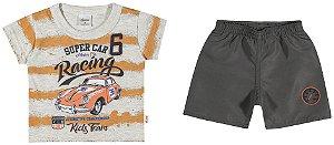Conjunto Camiseta em meia Malha Penteada e Bermuda em Tactel Menino Laranja - Elian