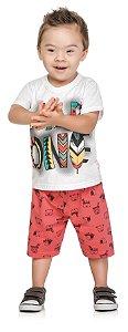 Conjunto camiseta em meia Malha Penteada Bermuda Menino Branco - Elian