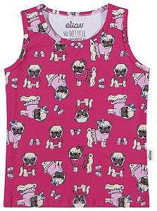 Blusa Regata Estampada Menina Pink - Elian