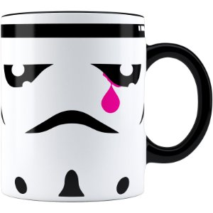 Caneca Star Wars StormTrooper Face Lágrima Alça Preta