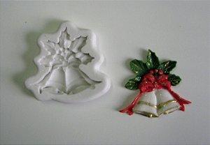 Molde de Silicone Sinos Duplo com arranjo natalino