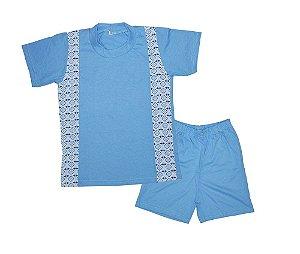Pijaminha Infantil Malha Curto Azul