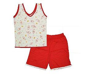 Short Doll Infantil Malha Regata Coração Vermelho