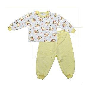 Pijaminha Baby Flanelado Ursinho Amarelo