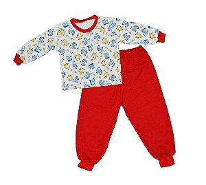 Pijaminha Infantil Flanelado Carrinhos Vermelho