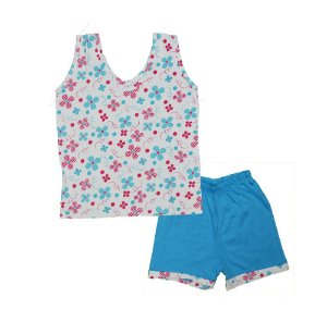 Short Doll Infantil Malha Regata Florido Rosa & Azul