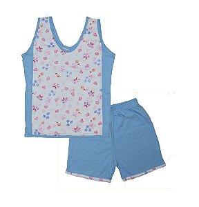 Short Doll Infantil Malha Regata Borboleta Florido Rosa & Azul