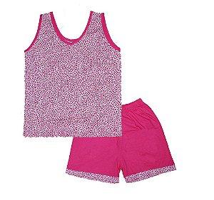 Short Doll Infantil Malha Regata Bolinha Rosa