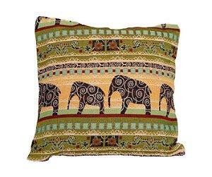 Capa Almofada Verde Elefantes 45x45cm
