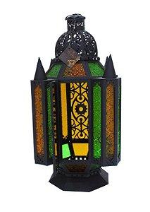 Lanterna Vela Ferro e Vidro 52cm