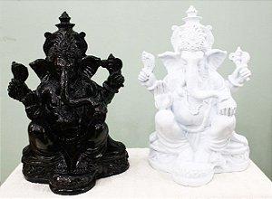 Ganesha Resina Branco ou Preto 25cm