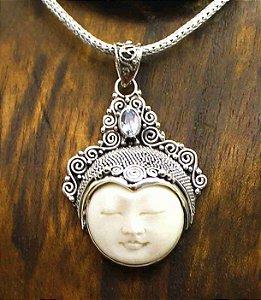 Pingente Buda Prata Cristal Azul