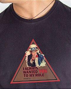 Camiseta Masculina Estampada Preta Tio Sam
