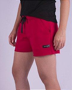Shorts Moletom Feminino Vermelho Sport Basic