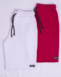 Kit Bermuda Moletom Sport Branca e Vermelha