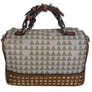 Bolsa Bag Dreams Baú Triangle Com Spikes Cinza
