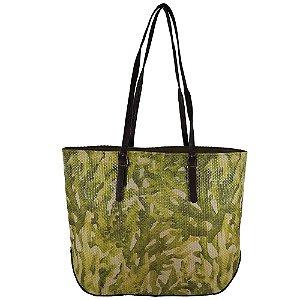 Bolsa Toque Estilo De Palha Estampada Verde
