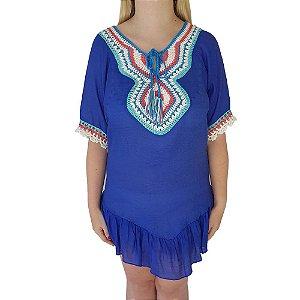 Saída De Praia Bag Dreams Com Crochê Étnico Azul