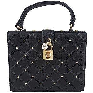 Bolsa Bag Dreams Quadrada Flower Preta