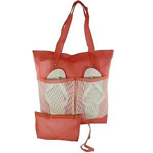 Bolsa Bag Dreams De Praia Impermeável Com Bolsos Coral