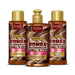 Forever Liss  Kit Bomba de Chocolate com Shampoo Condicionador e Creme