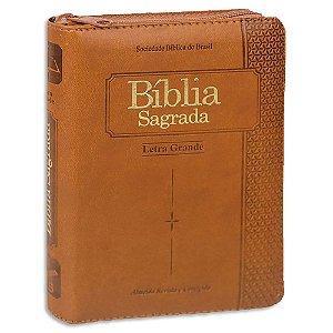 Bíblia Sagrada Letra Grande Zíper e Índice Marrom