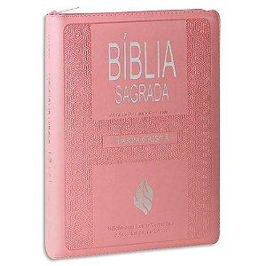 Bíblia com Harpa Letra Gigante Rosa Claro